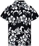 V.H.O. Funky Camicia Hawaiana, Hibiscus, Nero, M