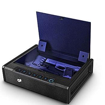 Biometric Gun Safe for Pistols Quick Access Handgun Safe for Home Fingerprint Hand Gun Safe Firearm Case Box - Upgraded Biometric/Keypad/Key Access,Silent Mode  Biometric Fingerprint Gun Safe