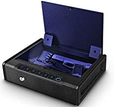 Biometric Gun Safe for Pistols, Quick Access Handgun Safe for Home, Fingerprint Hand Gun Safe Firearm Case Box - Upgraded Biometric/Keypad/Key Access,Silent Mode (Biometric Fingerprint Gun Safe)