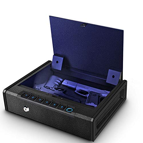Biometric Gun Safe for Pistols, Quick Access Handgun Safe for Home, Fingerprint Hand Gun Safe Firearm Case Box - Upgraded Biometric/Keypad/Key Access,Silent Mode,Rugged Construction,Auto Open Lid