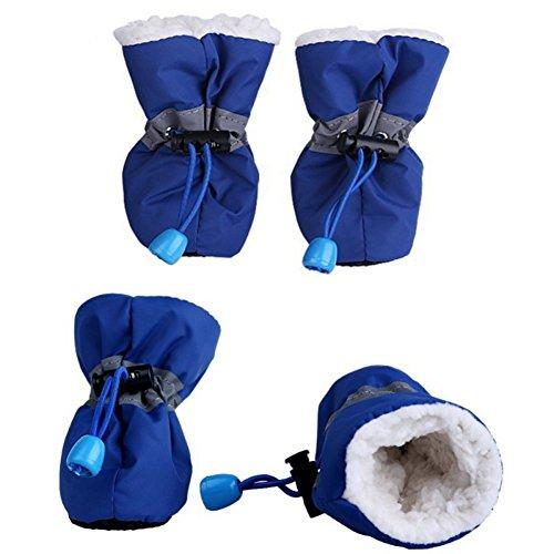 Etophigh 4-delig/losse winter warme hondenschoenen met kasjmier binnen,anti-slip schoenen voor kleine hond regen sneeuw puppy warme laarzen beschermhoes hond, style 3, blauw