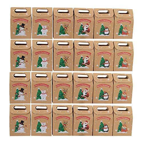 YUOKI99 Geschenkverpackungsbeutel 24 Stück/Set Handbedruckte Aufbewahrungsbox Kekse Multifunktionsfestival Bastelpapier präsentiert Weihnachts-Weihnachtsfeier-Bonbons wiederverwendbar