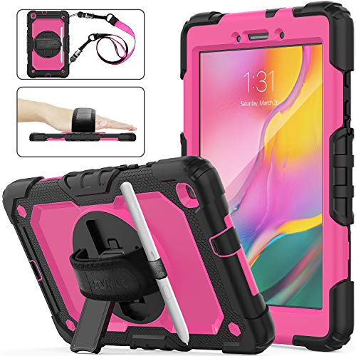 Samsung Galaxy Tab A 8.0 Case T290/T295/T297, SEYMAC Stock [Full-Body] Drop Proof Case with 360 Rotating Stand [Pencil Holder] [Screen Protector] Hand Strap for 2019 Samsung Tab A 8.0 (Rose+Black)