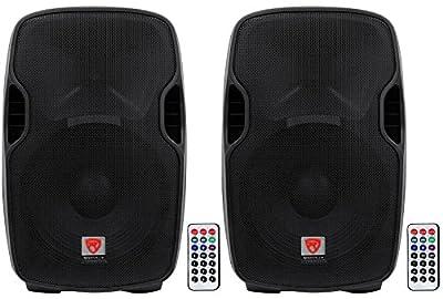 """(2) Rockville BPA15 15"""" Professional Powered 800 Watt DJ PA Speakers w Bluetooth from Rockville"""