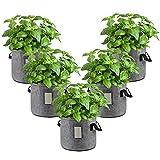 5 Stück Pflanzbeutel Pflanzsack Vliesstoff Pflanzen Vlies Pflanztasche Tasche mit Griffen für Kartoffel Pflanzbeutel Tomaten Blumen Pflanzgefäß Gemüse Erdbeeren Bag für Garten Balkon (5 x 10 Gallon)