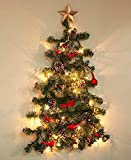 The Lakeside Collection Lighted Christmas Wall Tree with Faux Birds, Pine Cones