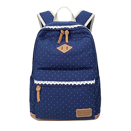 Mädchen Segeltuch Rucksack Lace Polka Punkt Schulrucksack Süße und Moderne Schultasche Große Kapazität für Schule Outdoor Camping Ausflug (Dunkelblau)