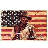 Shmjql John Wayne - AMERIKANISCHE Flagge Cowboy Film Seidenplakat Dekorative Wandmalerei -20x40inchNo Frame