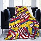 wobuzhidaoshamingzi Manta de Franela y vellón Bandera de Ecuador con Bandera de Estados Unidos Manta de Cama Ligera y súper Suave y acogedora