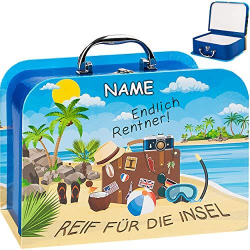 alles-meine.de GmbH Koffer / Kinderkoffer - MITTEL - Endlich Rentner ! Reif für die Insel - inkl. Name - 23 cm - Pappkoffer - Puppenkoffer - Kinder - Pappe Karton - Ruhestand Ren..