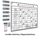 Tableau blanc Magnétique - A3 Calendrier pour réfrigérateur + pour la planification de menus, la liste d'épicerie, le rappel, la liste des tâches à faire, le tableau de dessin (Blanc + 3 stylos)