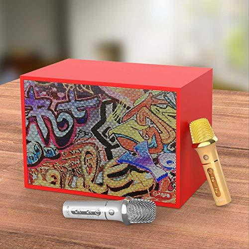 Bluetooth-Mikrofon, integriertes Audio-Mikrofon, tragbar, Geschenk, Garten, Spielen, Klassenzimmer, Partys Graffiti rot Host + Dual-Mikrofon