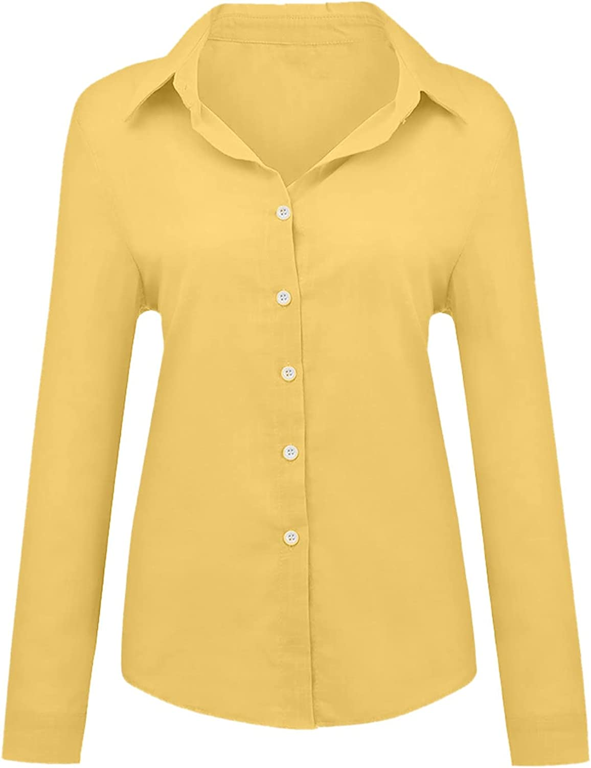 Women's 3/4 Sleeve Shirts Cotton Linen Tops Loose Fit Solid Color Button Casual Shirt Comfortable Tunic Blouses