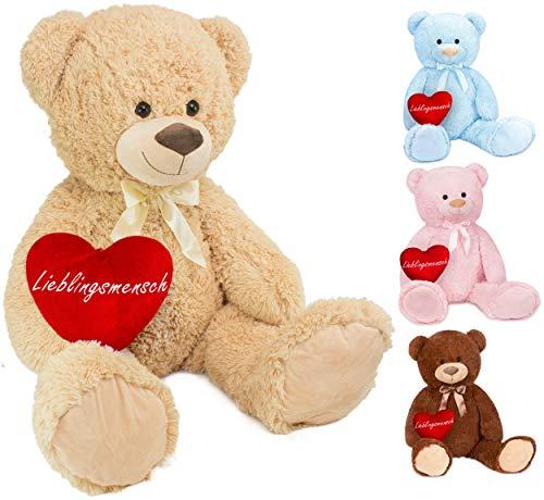 Brubaker XXL Teddybär 100 cm groß Beige mit einem Lieblingsmensch Herz Stofftier Plüschtier Kuscheltier