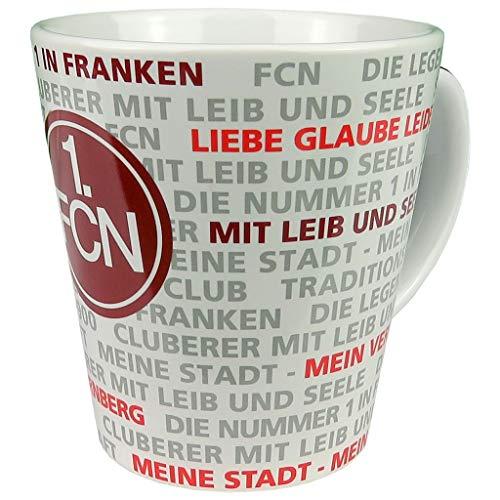 1. FC Nürnberg Tasse - Allover - Kaffeebecher, Kaffeetasse, Pott, Mug FCN - Plus Lesezeichen Wir lieben Fußball
