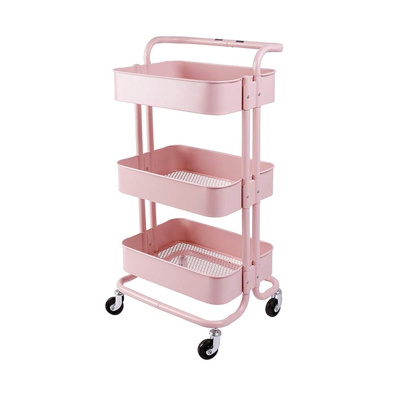 いま評判ロードされたCSQ 3ティアメタルローリングカート、ハンドルとキャスター浴室オフィスキッチン組織カート付きメタルメッシュユーティリティカートストレージカート (Color : Pink, Size : 42*35*86CM)