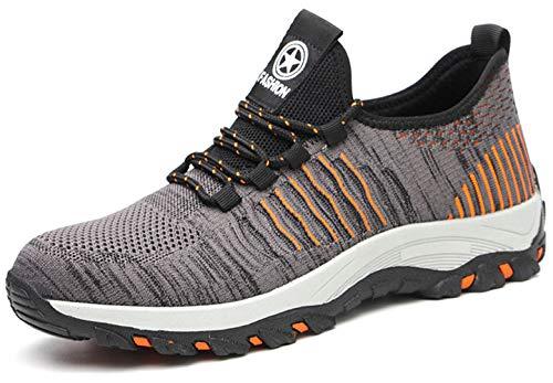 KENDOO Damen Herren Arbeitsschuhe Sicherheitsschuhe Gr.35-46 Schuhe Leichte Antirutsch Wasserdicht Atmungsaktive Sportlich mit Stahlkappe