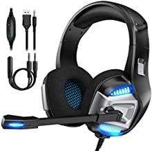 Gaming Headset for Xbox One, PS4 Gaming Headset with 7.1 Surround Sound Stereo, Noise Canceling Over Ear Headphones with Mic, LED Light, Soft Memory Earmuffs for Nintendo Switch, PC, Mac, Laptop
