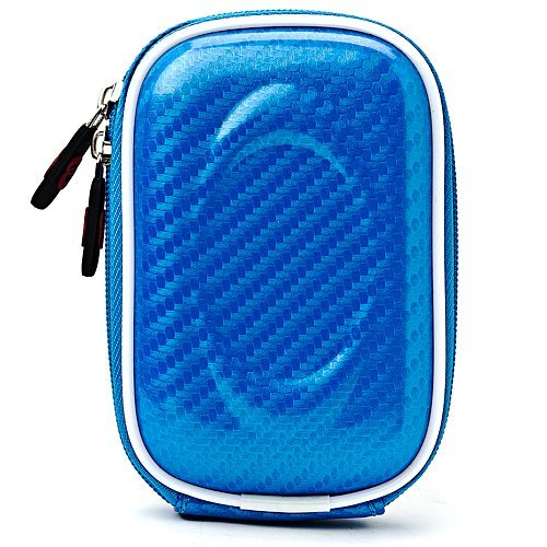 Carbon Fiber Light Blue Carrying Case for Canon Power Shot ELPH 500 Series, S95, SD970, SD1400, SD4500, SX230 Point and Shoot Digital Camera