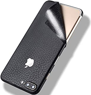 iPhone 7 Leather Skin Wrap Sticker,Tectom Full Edge Protective Decal for iPhone 7plus Back Case (Black, for iPhone 7)