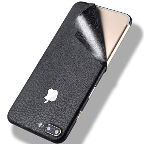 Precision Leather Skin Wrap Sticker for iPhone 7,Tectom Full Edge Protective Decal for iPhone 7plus Back Case (Black, for iPhone 7)