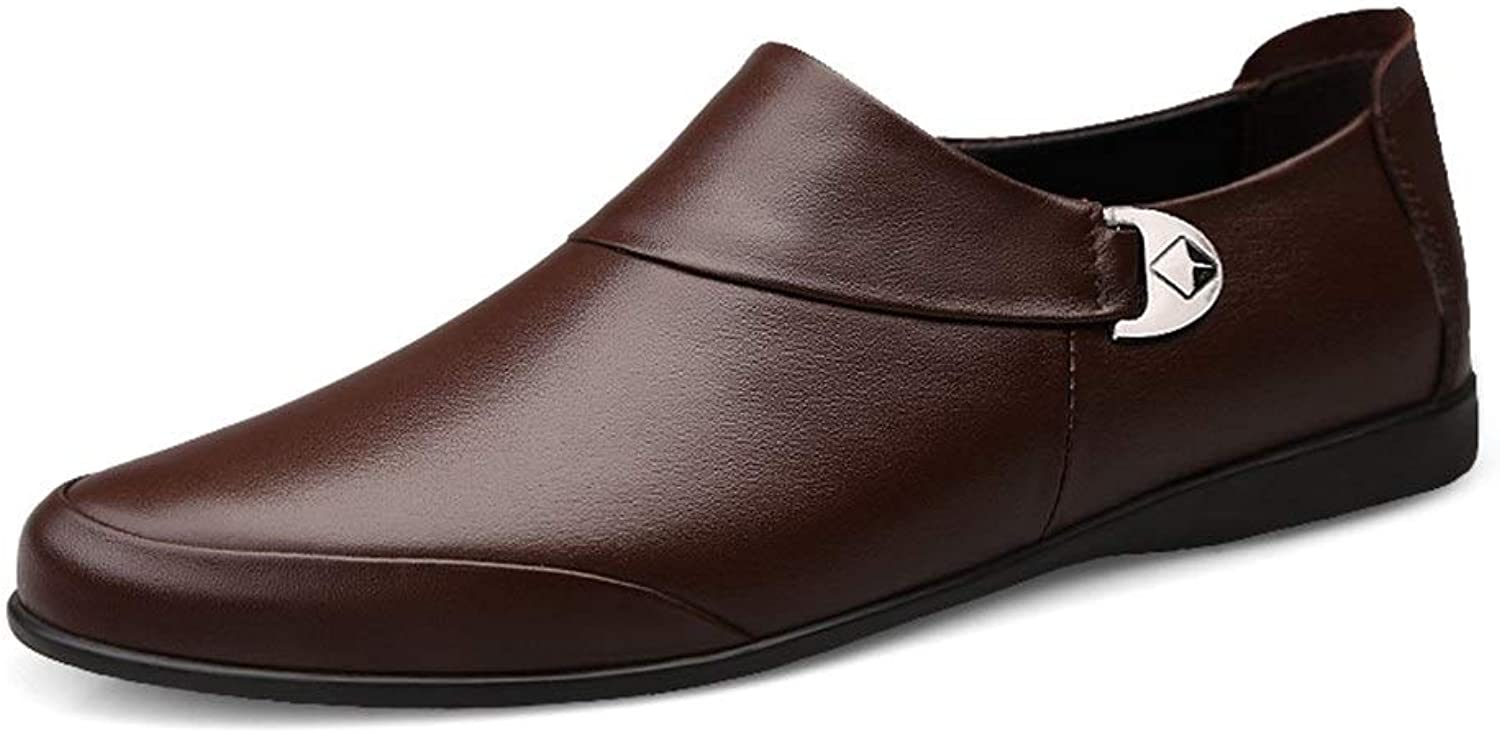 Man Loafers Flats, Mens Flat Slip-on Loafers Fashion Oxford shoes For Man Comfortable Soft Genuine Leather Business Dress Wedding Lightweight Anti-slip Round Toe (color   DarkBrown, Size   9.5 UK)