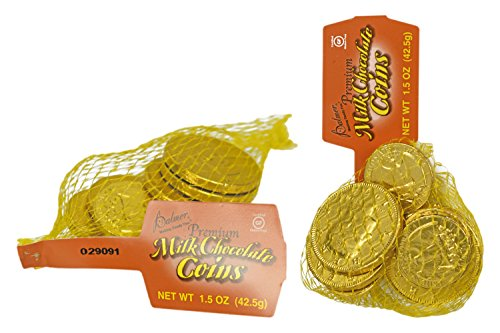 Set of 18 Palmer's Premium Milk Chocolate Coins - 2 Bags of Coins - Perfect Party Favor, Table Scatter, Easter Egg Filler, and More!