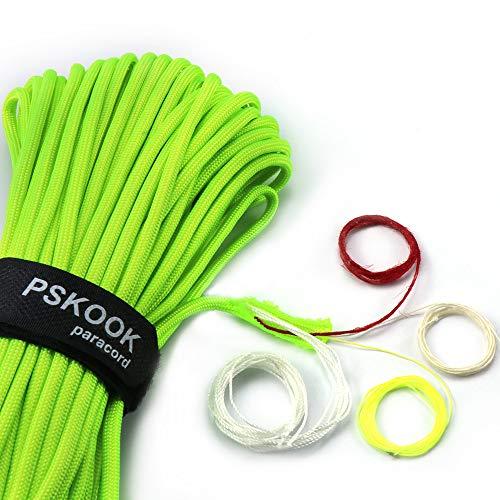 PSKOOK Línea de paracaídas con cuerda de yeso de lino PE Hilo de algodón para pescar - Mil-Spec Type III Paracord [ 100FT -verde neón]