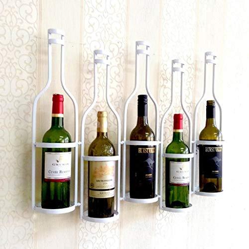 LYLSXY Estantes de Vino, Estante de Vino Colgante de Pared Soporte de Copa de Vino Colgante Estante de Vino Colgante Estante de Vino de Hierro Forjado para Vino 5 Botellas Estante de Copa de V