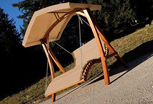 Design Hollywoodliege Doppelliege 'Aruba' aus Holz Lärche mit Dach von AS-S, Farbe:Braun - 2