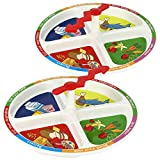 KidsFunwares 4-Square Meal Plate - Spin The Arrow and Eat - No More Mealtime Struggle - Set of 2