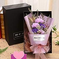 ドライフラワーのカーネーションバラの石鹸の花の小さな花束 バレンタイン・デー (Color : B)