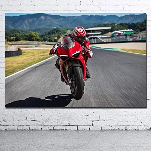 SXXRZA Lienzo de Arte 20x30cm sin Marco Motocicleta Ducati Sport Bike Imagen Lienzo Impresiones de Tela Pinturas Decorativas para Sala de Estar decoración del hogar