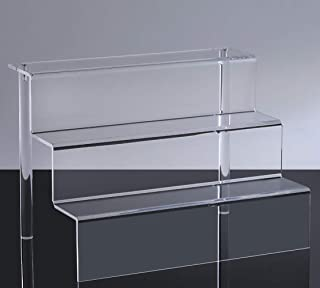 WINKINE 3 Step Clear Acrylic Riser Display Shelf for Amiibo Funko POP Figures, 3-Tier Acrylic Display for Decoration and Organizer, Large(9x12 inch)