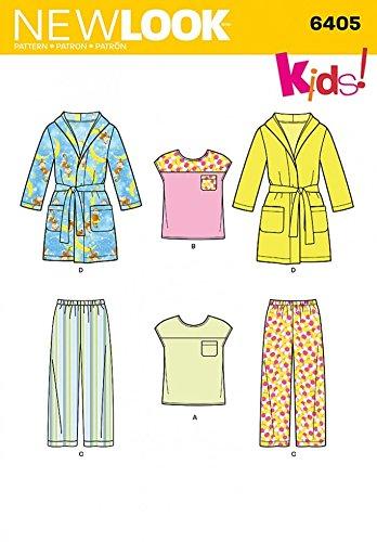 New Look Kinder einfach Schnittmuster 6405Schlafanzug & Bademantel