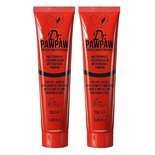 Dr. PAWPAW Tinted Ultimate Red Balm for Lips and Skin, 2 x 25ml