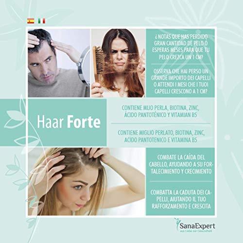 SanaExpert Haar Forte, vitamine per la crescita e la caduta dei capelli con biotin, zinco, miglio perlato e selenio (120 capsule compresse) Vegan e 100% naturali. Prodotto in Germania.