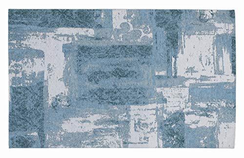 REAL STAIN Vintage Patchwork Velour Teppich in türkis, Größe: 120x180 cm