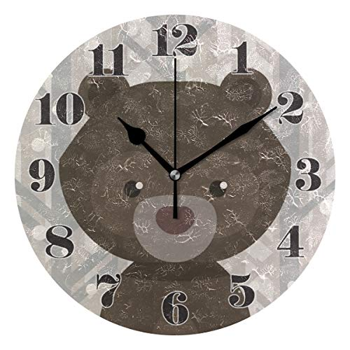 senya Wall Clock Silent Non Ticking, Round Cartoon Bear Pattern Art Clock for Home Bedroom Office Easy to Read