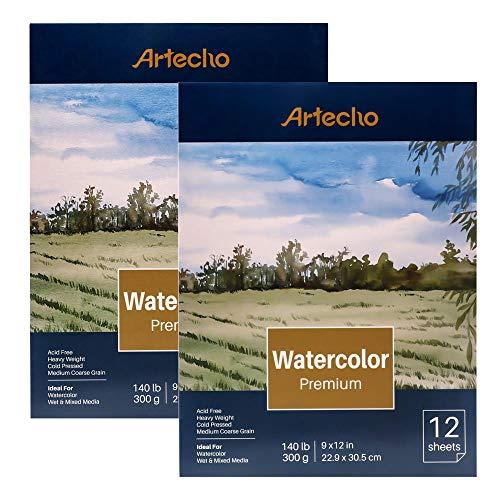 Artecho - Blocco di carta ad acquerello, 12 fogli (63,5 kg/300 g/m²), pieghevole, senza acidi, grana media, carta pressata a freddo