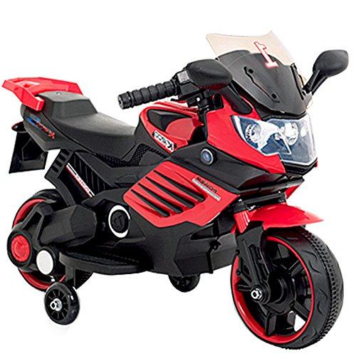 子供用 電動 乗用 バイク 061【赤】/ 乗用玩具 / 補助輪付 / CBK-061-RD