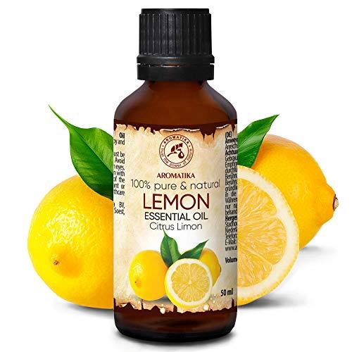 Olio Essenziale di Limone 50ml - Olio di Agrumi - Italia - Naturale e Puro 100% - Buon Sonno - Buonumore - Aromaterapia - Massaggi - Cura delle Unghie - Aroma Lamps - Lemon Essential Oil