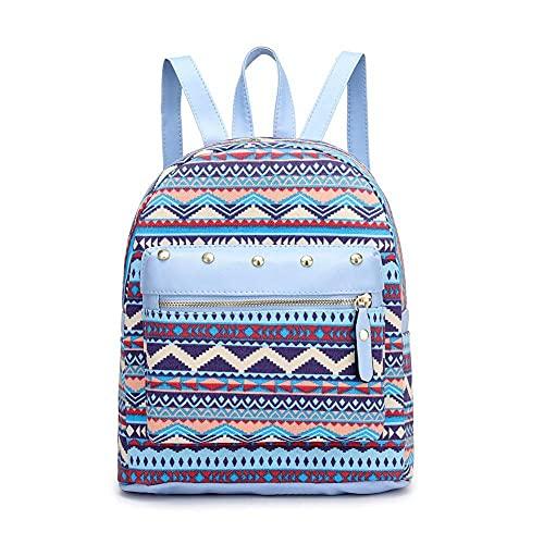 Mochilas de gran capacidad para niñas, mochila de lona para mujer, bolsos de hombro escolares con remaches étnicos para accesorios de compras al aire libre, 24x28x11cm