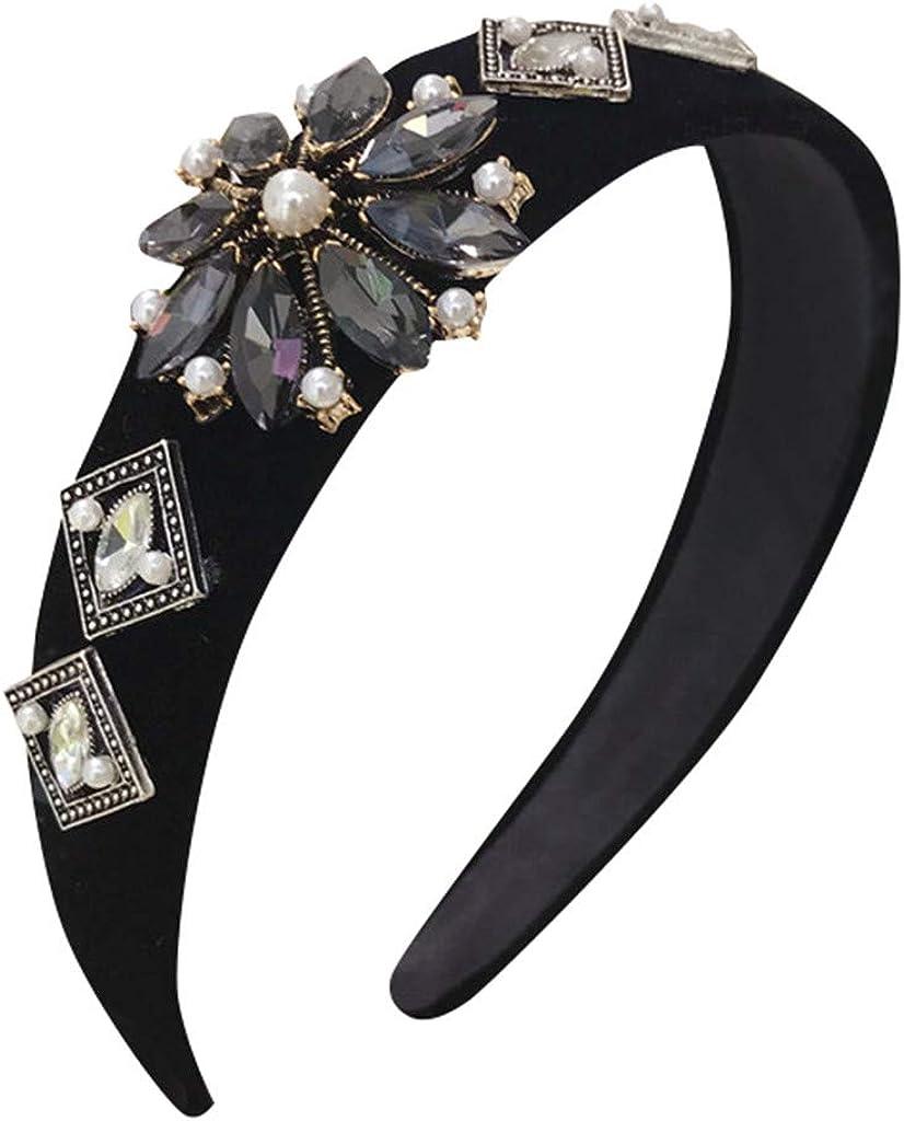 Sayhi Sweet Style Crystal Flower Wide Headband Broadside Comfortable Hair Hoop Girls Women Hair Accessories