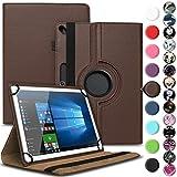 Archos 101b Oxygen Tasche Hülle Tablet Cover Schutz Hülle Schutzhülle 360° Drehbar, Farbe:Braun