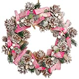 Dibor Christmas Wreath Large Front Door Pink Winter Wall Hanging Garland Ornament