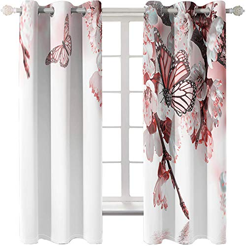 KYLN Pink butterfly Outdoor patio shade curtains Thermal insulation short curtain for bedroom, natural, a set of 2 curtain panels 140X290CM(55X114IN)