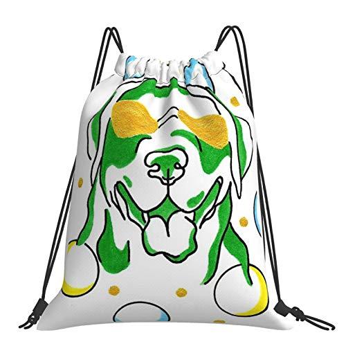 Mochila con cordón ajustable para deportes al aire libre, impermeable, mochila deportiva Labrador en gafas de sol