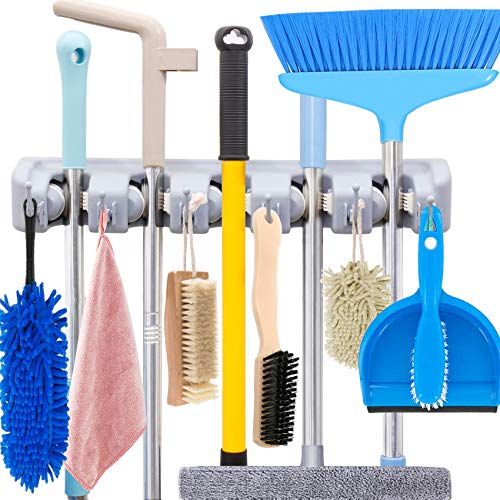 HYRIXDIRECT Mop and Broom Holder Wall Mount Heavy Duty Broom Holder Wall Mounted Broom Organizer Home Garden Garage Storage Rack 5 Position with 6 Hooks (Grey)
