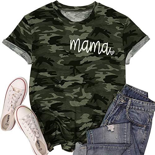 DREAMING-Camisa Casual de Manga Corta para Mujer de Primavera y Verano, Jersey Suelto de Camuflaje, Camiseta de Manga Corta con Cuello Redondo y Estampado de Letras XL
